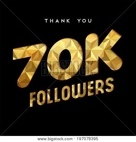 70K Gold Internet Follower Number Thank You Card