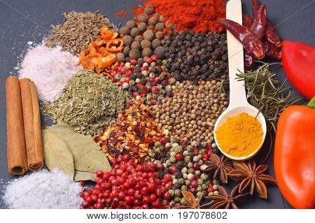 Composition with different spices and herbs. Food ingredients