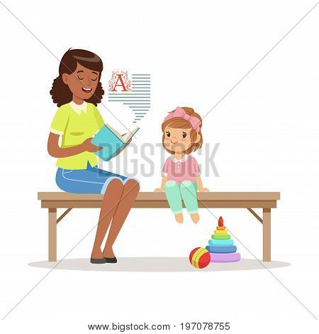 Teacher reading a book to little girl sitting on a bench, kids education and upbringing in preschool or kindergarten, colorful characters vector Illustration