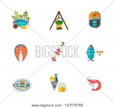 Fish food icon set. Dish with herbs Fish soup Canned fish Salmon steak Shrimps kebab Caviar Dish Chips Shrimp