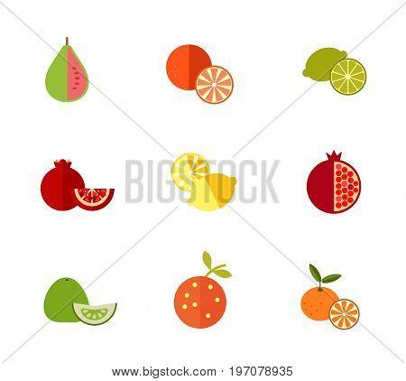 Fresh fruit icon set. Guava Tangerine Lime Pomegranate Lemon Pomegranate Pomelo Orange Whole tangerine with slice