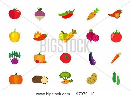 Fresh vegetables icon set. Tomato Beet Jalapeno peppers Carrot Chili pepper Bell pepper Apple Beetroot Tomato Kohlrabi Pumpkin Tomato Eggplant Carrot Pumpkin Potato Broccoli Potato Cucumber
