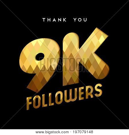 9K Gold Internet Follower Number Thank You Card