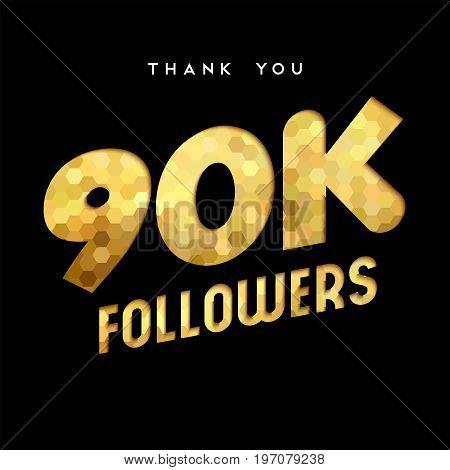 90K Gold Internet Follower Number Thank You Card
