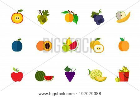 Fruit harvest icon set. Half apple Green grape Apricot on branch Dark grape Apple and banana Plum Half apricot Healthy eating Fruit slice Apricot Apple Watermelon Grape branch Melon Bucket