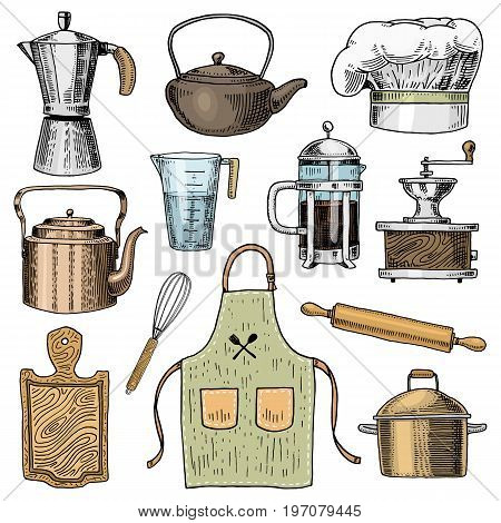 Coffee maker or grinder, french press, rolling pin and saucepan, wooden board. Chef and dirty kitchen utensils, cooking stuff for menu decoration. engraved hand drawn in old sketch and vintage style