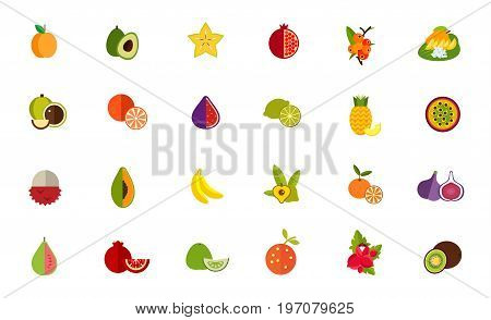 Fruit icon set. Apricot Avocado Carambola Pomegranate Camu camu Thai dessert Macadamia Orange Fig Lime Pineapple Passion fruit Lychee Papaya Banana Lucuma Tangerine Guava Pomelo Guarana Kiwi