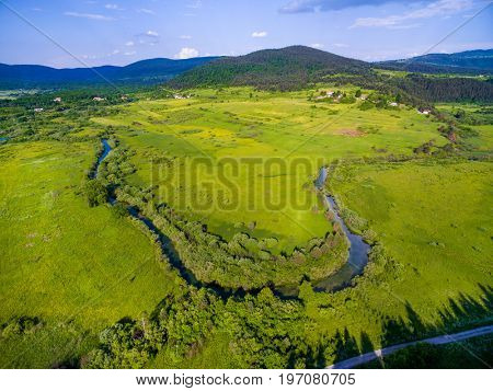 Aerial view of Jesenica river and surrounding in Croatian region Lika.