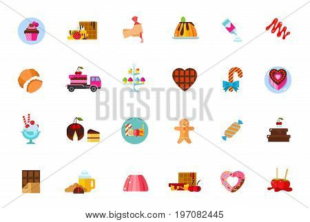 Sugar food icon set. Cupcake Waffle Topping Pudding Cream Caramel Croissant Delivery Stand Chocolate heart Cane Cake Dessert Piece Lollipops Gingerbread Candy Pastry Bar Coffee Jelly Donut Candy apple