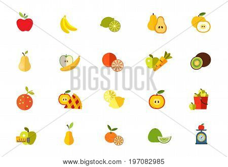Sweet fruits icon set. Apple Banana Lime Cut pear Cut fruit Pear Healthy eating Tangerine Carrot and apple Kiwi Orange Apple pie Lemon Bucket Measuring tape Tangerine with slice Pomelo Fruit on scales