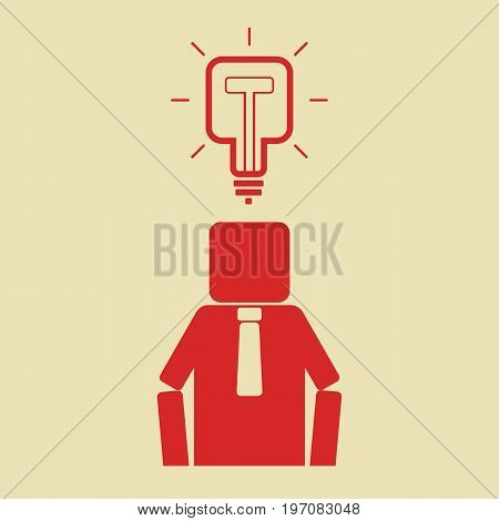 Worker have a new idea. Square light bulb overhead of businessman. Vector illustration.