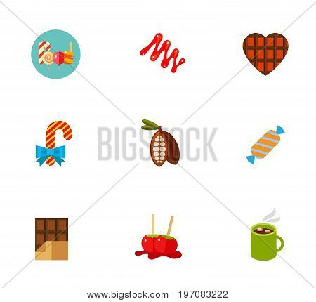 Sweets icon set. Candy canes and lollipop Caramel sauce Chocolate heart Candy cane with bow Cocoa Sweet Chocolate bar Candy apples Hot chocolate in mug