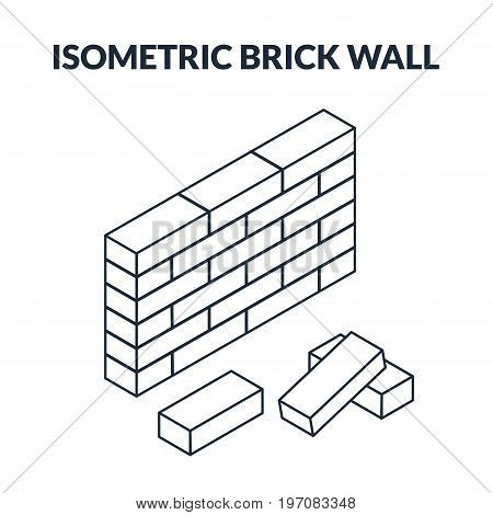 Outline Icons Of Bricks And A Brick Wall