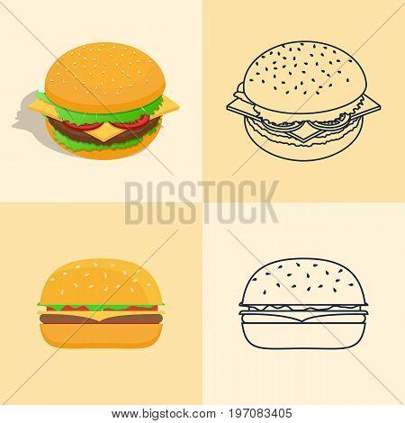 Sect Icons Of A Hamburger