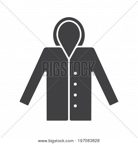 Raincoat glyph icon. Silhouette symbol. Waterproof coat. Negative space. Vector isolated illustration
