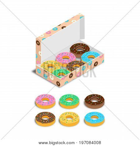Set Of Colorful Glazed Donuts