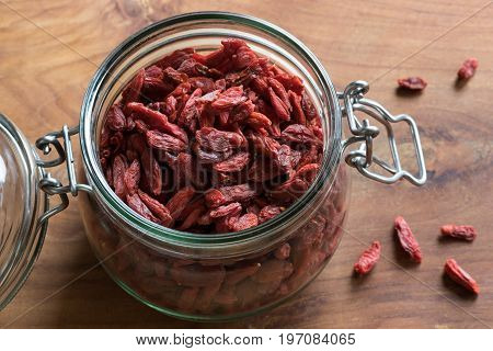 Dry Goji Berries In A Glass Jar