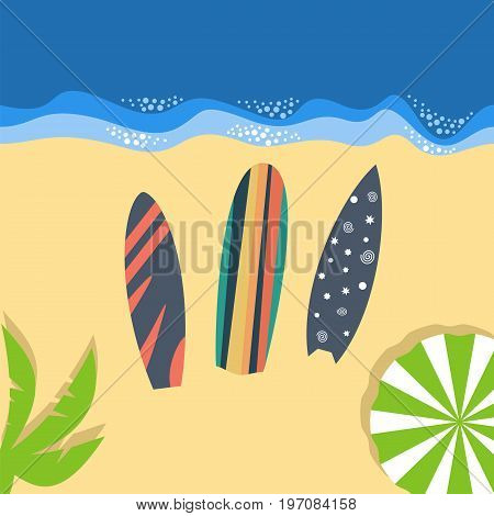 let's go surfing. Travel and vacation. Surfboards lie on the beach. Vector illustration.