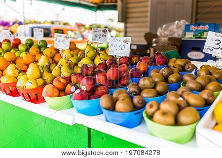 Montreal, Canada - May 28, 2017: Produce On Fruit Stand With Signs In French At Jean-talon Farmers M
