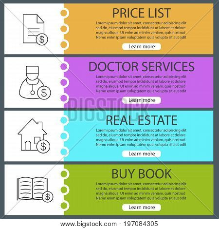 Services web banner templates set. Price list, buy book and real estate, doctor services. Website color menu items with linear icons. Vector headers design concepts