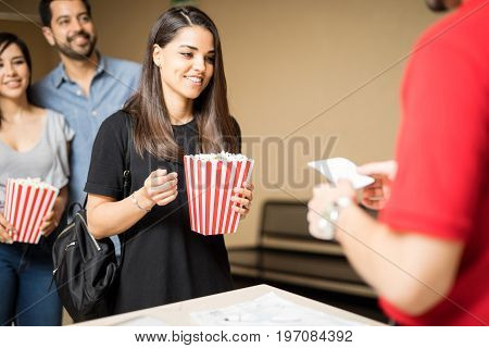 Excited Woman About To See A Movie