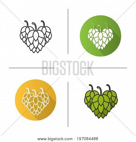 Hop cones icon. Flat design, linear and color styles. Isolated vector illustrations