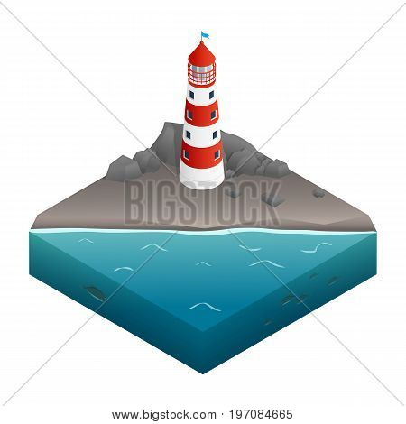 Vector illustration. Icon lighthouse on a rocky shore on the ocean. Isometry. 3D