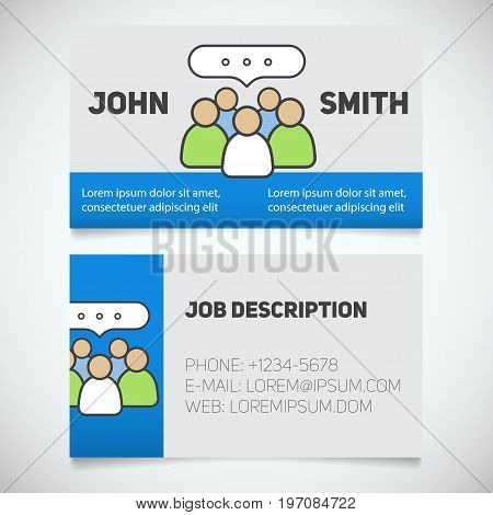 Business card print template with teamwork logo. Manager. Business meeting. Conference. Stationery design concept. Vector illustration