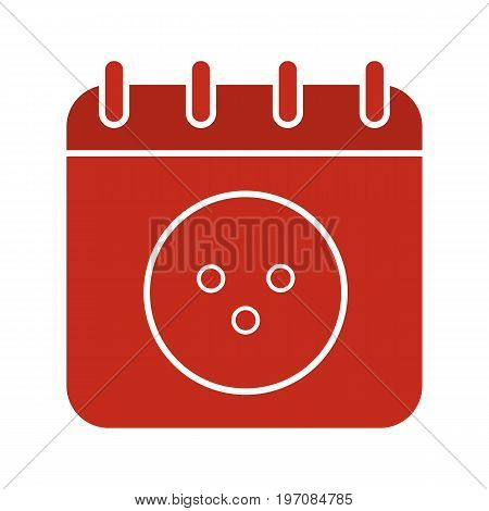 Bowling tournament date glyph color icon. Calendar page with bowling ball. Silhouette symbol on white background. Negative space. Vector illustration