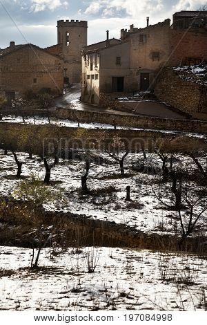 Winter in Valderrobres village. Teruel province. Spain