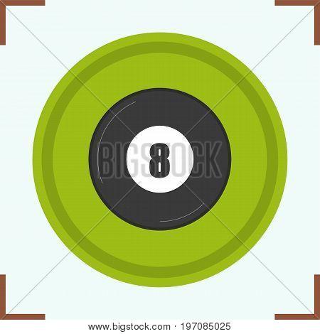 Billiard eight ball color icon. Magic 8 ball. Isolated vector illustration