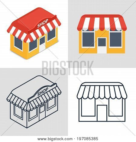 Vector illustration. Set of icons of a small shop building in different styles. Isometric, flat, contour.