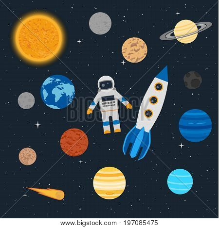 Vector illustration. Planets of the solar system, an astronaut with a rocket on the background of stars in space. Comet and an asteroid. Design for textiles, children's educational poster, banner.
