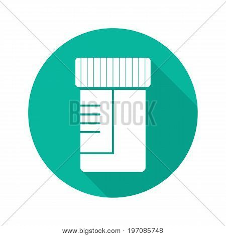 Medical tests jar flat design long shadow glyph icon. Ointment container. Vector silhouette illustration