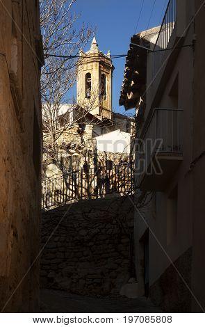 Old church in La Fresneda village. Teruel province