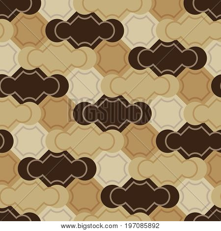 Seamless tile vector pattern with brown elements