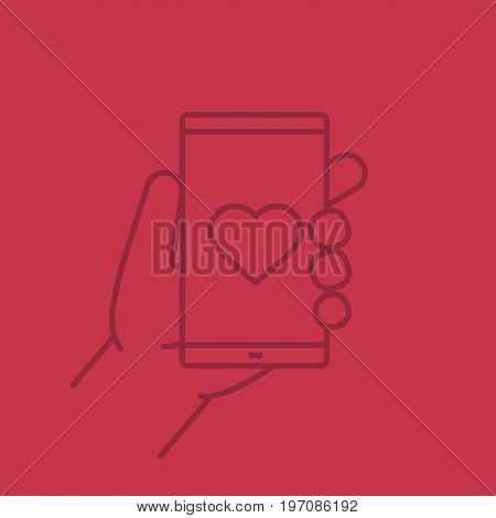 Hand holding smartphone linear icon. Smart phone dating app. Thin line outline symbols on color background. Vector illustration