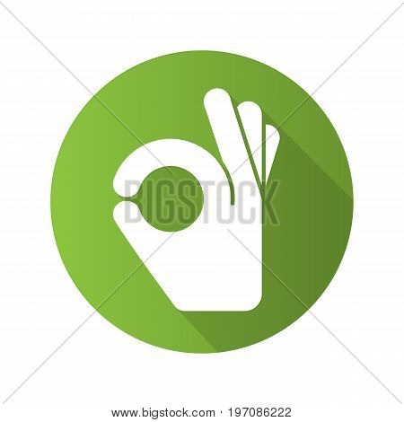 OK hand gesture flat design long shadow glyph icon. Vector silhouette illustration