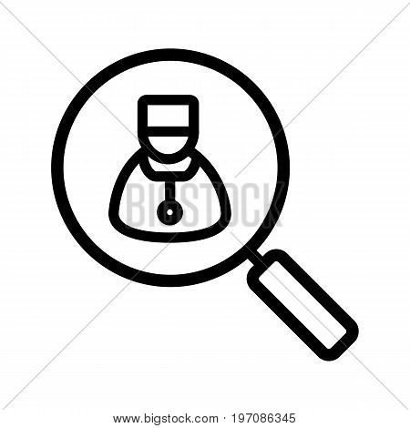 Doctor search linear icon. Thick line illustration. Magnifying glass with therapist contour symbol. Vector isolated outline drawing