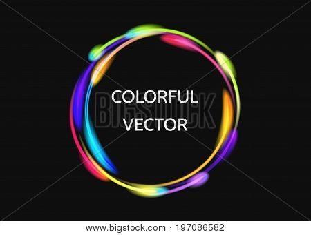Colorful neon circle lights effect on black background. Shining magic flash energy beams. Abstract multicolored ring. Comet trails. Vector banner template.