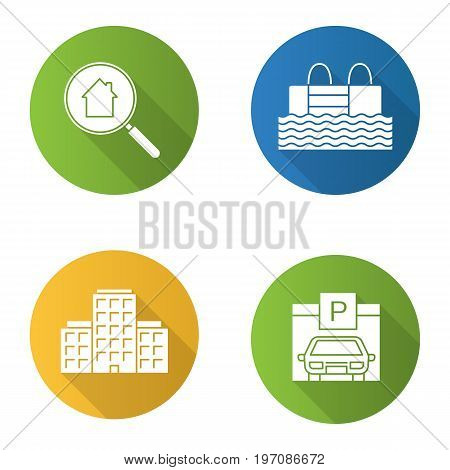 Real estate flat design long shadow glyph icons set. Multi-storey building, swimming pool, parking place, real estate search. Vector silhouette illustration