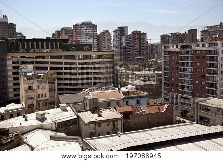 SANTIAGO, CHILE-NOVEMBER 27 2014: views in a famous neighborhood in the City center of Santiago of Chile on November 27, 2014