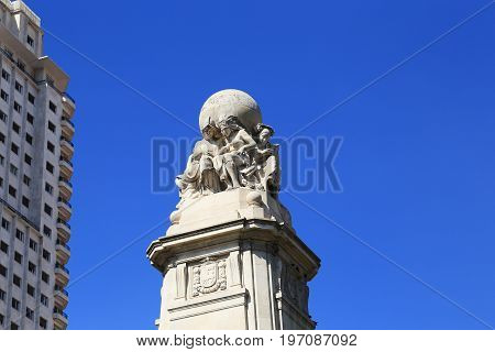 MADRID, SPAIN - MAY 24, 2017: It is a globe with five continents as an allegory of the spread of the Spanish language around the world on top of the monument to Cervantes.