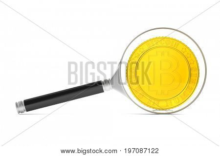 coin bitcoin and magnifier on white background. Isolated 3D illustration