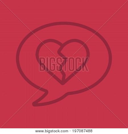 Breakup message linear icon. Chat box with heartbreak. Thin line outline symbols on color background. Vector illustration