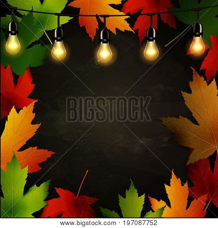 Frame of autumn leaves painted on black chalkboard with light bulbs perfect for your design or text. Vector illustration.