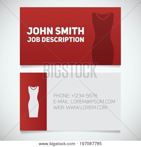 Business card print template with evening dress logo. Women's dresses shop. Stationery design concept. Vector illustration