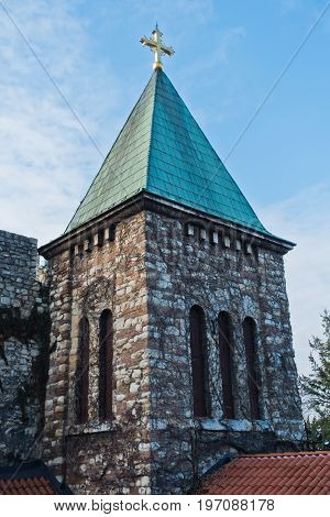 Church tower inside Kalemegdan fortress walls at morning in Belgrade, Serbia