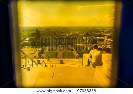 Montreal, Canada - May 28, 2017: Person Sitting On Steps Of St Joseph's Oratory On Mont Royal Viewed