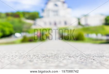 Montreal, Canada - May 28, 2017: St Joseph's Oratory On Mont Royal With Bokeh Focus On Ground In Que